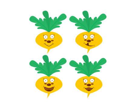 Yellow turnip cartoon character with smiles and faces. Clipart and drawing. Vector isolated illustration on white background.