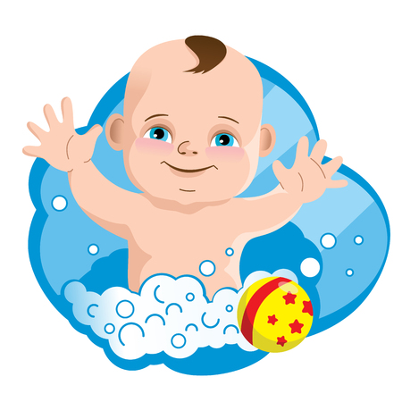 Funny little child, soap foam and baby ball. Vector illustration.