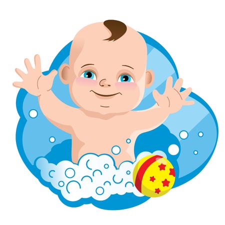 Lustiges kleines Kind, Seifenschaum und Babyball. Vektor-illustration Standard-Bild - 95586449