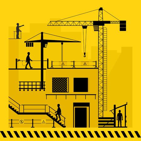 Construction site. Fencing for safe work. Vector illustration.