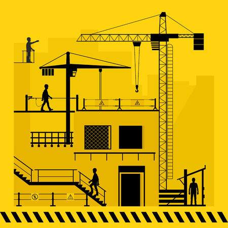 Construction site. Fencing for safe work. Vector illustration.