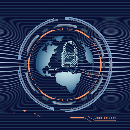 Data protection in the global network with padlock on the globe or earth. Vector illustration.