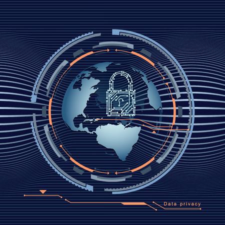 Datenschutz im globalen Netzwerk mit Vorhängeschloss auf der Kugel oder Erde . Vektor-Illustration Standard-Bild - 95517292