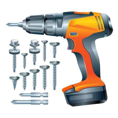 stock vector electric screwdriver and a set of screws Иллюстрация