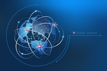 Modern design of network connections, the planet and satellites in orbit. Background vector illustration