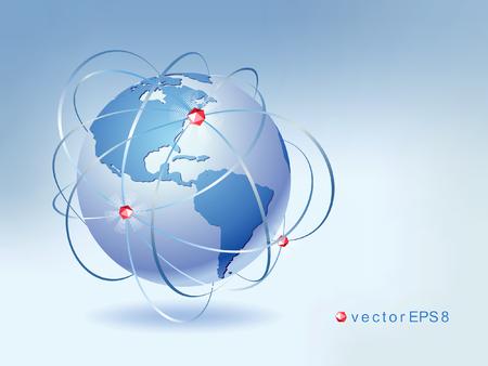Planet Earth. Modern design of the global communication network. Vector illustration.