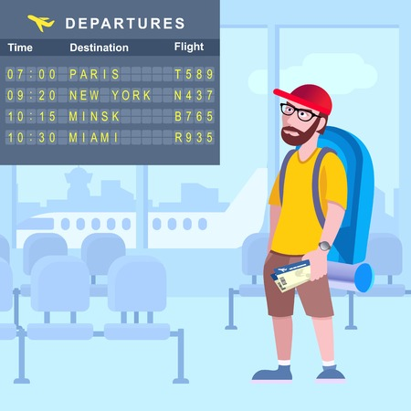 The traveler at the airport examines the departure board. Vector illustration. Stock Vector Graphics