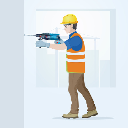 The builder in overalls with the tool in hands. Vector illustration. Illustration