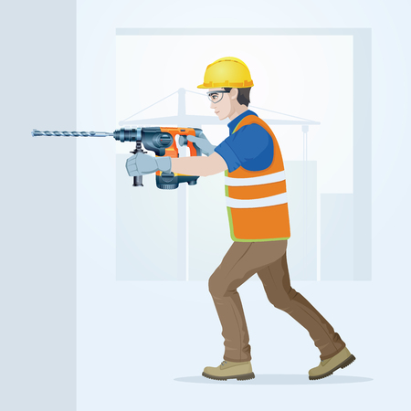 The builder in overalls with the tool in hands. Vector illustration. 向量圖像