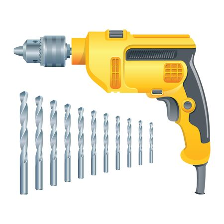 Electric drill and set of drills. Vector illustration.
