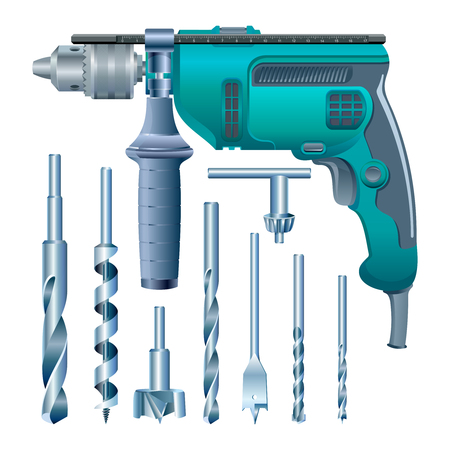 Stock vector electric drill and set of drills