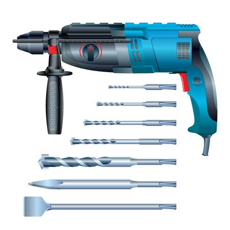 Stock vector hammer drill and SDS drill bit Иллюстрация