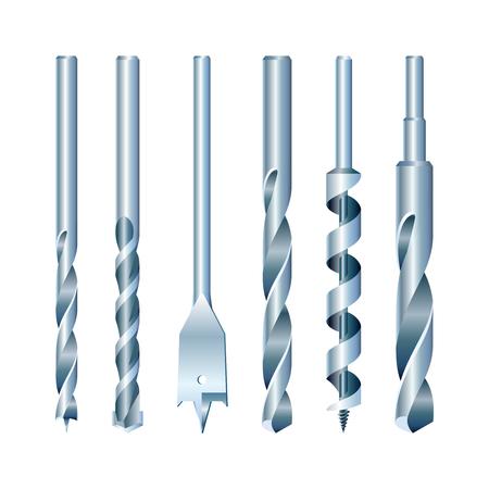 Auf lagervektorsatz Bohrgeräte für Holz, Metall und Maurerarbeit Standard-Bild - 96092202