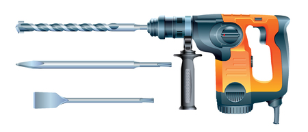 Stock vector rotary hammer drill machine and hammer drill bits Vectores