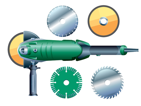 Stock vector angular grinding machine and grinding wheels