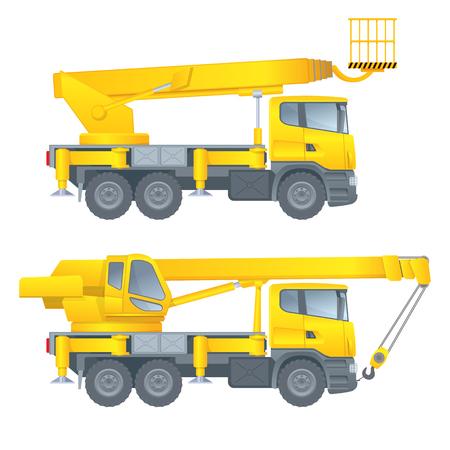Construction machinery. Truck crane. Car cradle. Aerial platform. Vector illustration. White background.