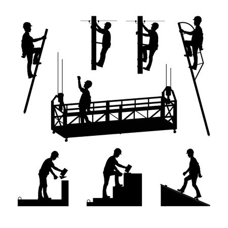 Silhouettes of builders. Brickwork. Mason bricklayer. High-altitude work. A molar, an electrician. Vector illustration. Vettoriali