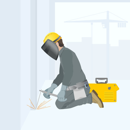 Welder at work. Figure in overalls. Construction site. Vector illustration. Stock Illustratie