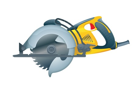 Manual circular saw on white background. Vector illustration