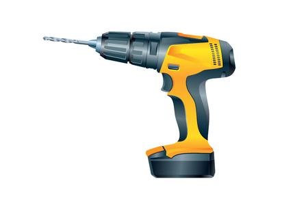 Electric screwdriver on white background. Vector illustration Иллюстрация