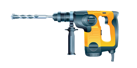 Professional rotary hammer with a drill on white background. Vector illustration