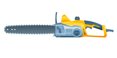 Chain electric saw on white background. Vector illustration Иллюстрация