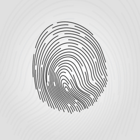 Fingerprint of the hand. Vector illustration on a light background. Иллюстрация