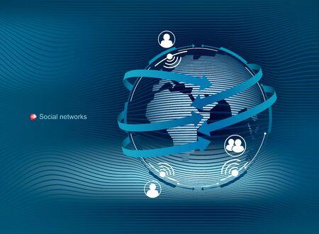 Globale Kommunikation in sozialen Netzwerken. Modernes, sauberes Vektordesign. Standard-Bild - 96137515