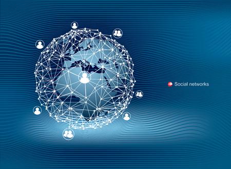 Global communication in social networks. Modern, clean vector design.