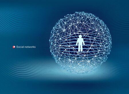 Globale Kommunikation in sozialen Netzwerken. Modernes, sauberes Vektordesign. Standard-Bild - 96137766