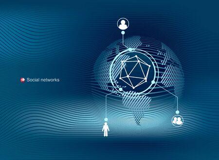 Globale Kommunikation in sozialen Netzwerken. Modernes, sauberes Vektordesign. Standard-Bild - 96137767