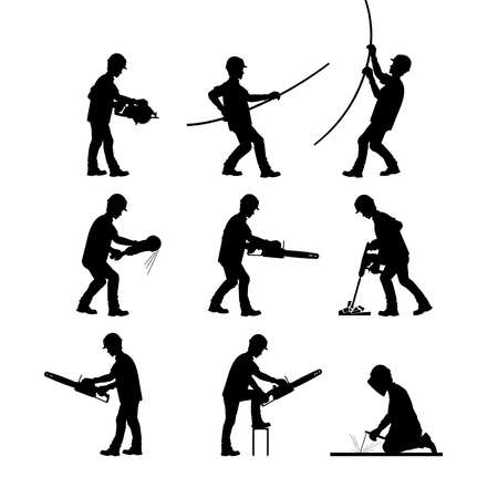 A construction worker at work. Silhouettes in different poses with and without tools. Vector illustration.