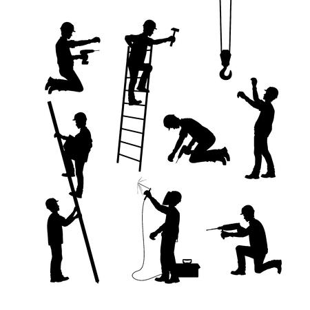 Un operaio edile al lavoro. Sagome in diverse pose con e senza strumenti. Illustrazione vettoriale Vettoriali