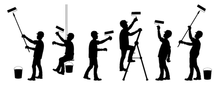Silhouette of different workers illustration. Иллюстрация