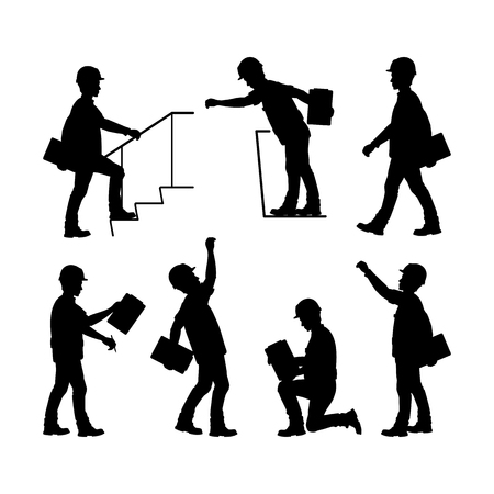 Silhouetten von Bauarbeitern. Vorarbeiter, Bauleiter. Vektorabbildung auf weißem Hintergrund Standard-Bild - 96137772