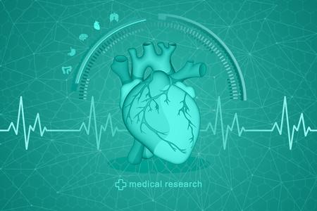 Medizinische Forschung für die menschliche Gesundheit. Vector Zeichnung eines anatomisch wahren menschlichen Herzens auf einem futuristischen Hintergrund. Standard-Bild - 96137773