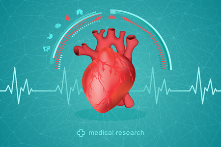 Medical research of human health. Vector drawing of an anatomically true human heart on a futuristic background.