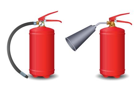 Fire extinguisher powder, carbon dioxide. Vector illustration on white background Иллюстрация