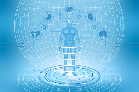 Medical research. Future technologies. A male figure on a futuristic background. Vector illustration.
