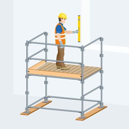 Gerüst mit einer Arbeitskraft auf ihnen . Vektor-Illustration Standard-Bild - 96137780