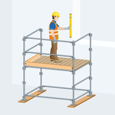 Scaffolding with a worker on them. Vector illustration.