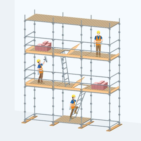 Multi-level scaffolding with workers on them. Vector illustration.