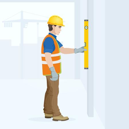 Ein Mann ist eine Bauarbeiter im Overall am Arbeitsplatz mit einem Werkzeug in seinen Händen . Vektor-Illustration Standard-Bild - 96137783