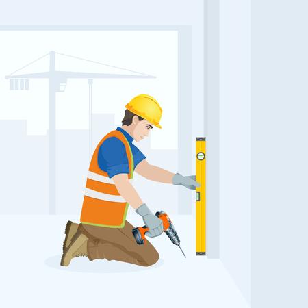 Ein Mann ist eine Bauarbeiter im Overall am Arbeitsplatz mit einem Werkzeug in seinen Händen . Vektor-Illustration Standard-Bild - 96137785