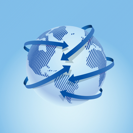 Modern design of the world map with the index arrows. Vector illustration.