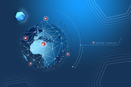 Modernes Design von Netzwerkverbindungen, Planeten und Satelliten im Orbit. Hintergrund Vektor-Illustration Standard-Bild - 96137788