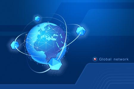 Modernes Design von Netzwerkverbindungen, Planeten und Satelliten im Orbit. Hintergrund Vektor-Illustration Standard-Bild - 96137789
