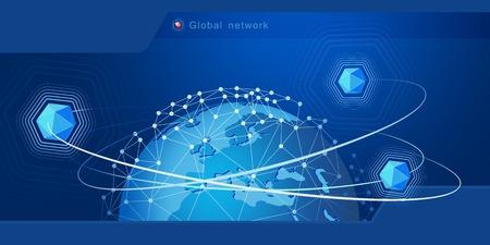 Modernes Design von Netzwerkverbindungen, Planeten und Satelliten im Orbit. Hintergrund Vektor-Illustration Standard-Bild - 96137791