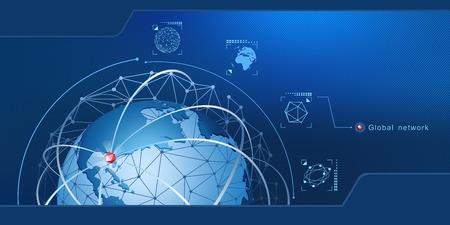Modernes Design von Netzwerkverbindungen, Planeten und Satelliten im Orbit. Hintergrund Vektor-Illustration Standard-Bild - 95816024