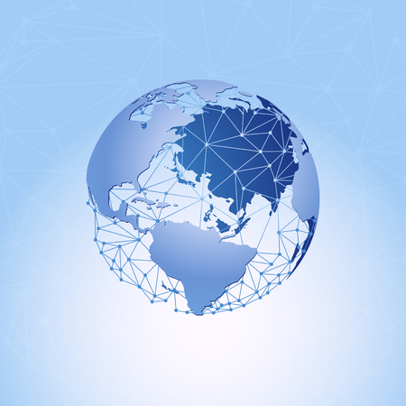 World map and global communication network. Vector illustration.
